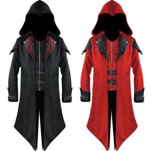 Mens Medieval Steampunk Frock Coat Retro Gothic Victorian Jacket Vintage Cosplay
