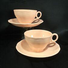 Grindley Peach Petal Tea Cup Saucer Wide Mouth Teacup PAIR! Petalware Teacup set