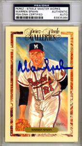 Warren Spahn Autographed 1990 Perez-Steele Postcard Braves PSA/DNA 83935364