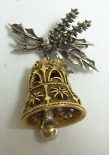 Vintage ART Christmas Two Toned Filigree Bell Pin