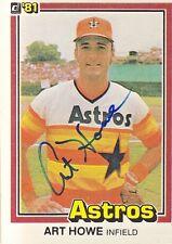 Art Howe Signed 1981 Donruss #258 Astros Autograph