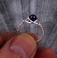 BLACK PEARL  GEMSTONE RING  STERLING SILVER SIZE 5 TO 15 WIRE WRAPPED BEAD RING