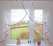 Romantische Gardine mit Raffband milk-weiß rot 400/150 Kräußelband Wohnzimmer