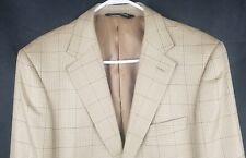 Pronto Moda Sport Coat 38 R Light Taupe Window Pane Silk Wool Cashmere 2 B - 1 V