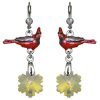 Kirks Folly Snowflake Cardinal Leverback Earrings (Silvertone)