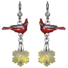 Kirks Folly Snowflake Cardinal Leverback Earrings (Silvertone)