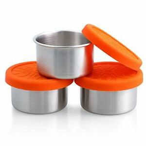 Stainless Steel Condiment Containers 3 x 3.4oz Salad Dressing Containers with...
