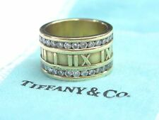 Tiffany & Co 18Kt Atlas Diamond Yellow Gold WIDE Ring .84Ct Size 6.5 12mm
