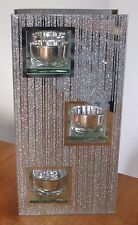 Silver Sparkle Glass Stripe Glitter Mirrored Tealight Holder With 3 Led T-lights