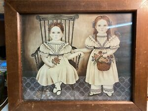 """Vintage Nita Showers 1984 Sisters' Picture 15 1/2""""x13"""" Girls With Bird & Flower"""