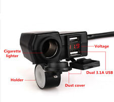Waterproof Motorcycle Dual USB Charger Cigarette Lighter Socket w/ LED Voltmeter