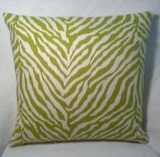 "2 New 14"" x 14"" Pillow Covers - Green Zebra Stripe Print - Reversible"