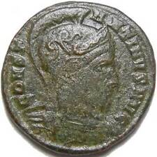 Constantine I The Great AE3 Helmeted Bust Two Captives Standard Roman Ticinium