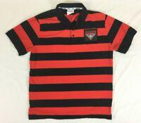 AFL - Essendon Bombers Black & Red Striped Polo Shirt - Mens - Size 2XL