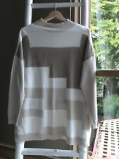Lovely MEREDITH Oversized Cream Wool Funnel Neck Sweater Jumper Size XS EUC