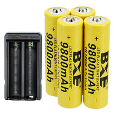 4X 18650 Rechargeable Battery 3.7V Li-ion Batteries with Charger for Flashlight
