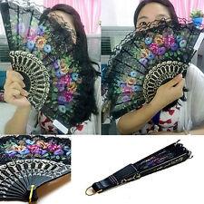 Spanish Flora Oriental Dance Wedding Party Silk Folding Lace Hand Fan Favor