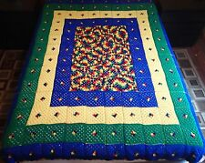 Granny Squares Rainbow Afghan Crochet 84 x 72 Handmade Throw Blanket Large