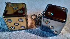 2x Taschenaschenbecher - Würfel - Schlüsselanhänger / Gold und Silberfarbig