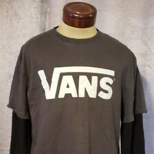 Vans Long Double Sleeved Gray Black T-Shirt Size XXL