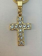 Crystal Diamante Cross Keyring Key Chain Pendant New without Tags