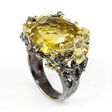 925 Sterling Silber Design-Ring, Natürliche Juwel fine art 15x16mm. Lemon Quartz