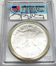 2004 SILVER EAGLE DOLLAR Lance Armstrong AUTOGRAPHED MS69 PCGS AMERICAN HEROES
