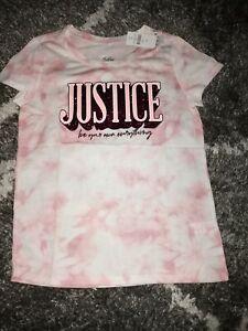 Girls justice short sleeve tee size 14 new pink tye dye w/glitter logo/graphics