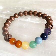 Chakra Crystal Bracelet Copper 7 Gemstone 8mm Bead Elastic Stretch Cord One Size