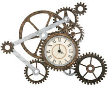 Mechanical Gear Wall Art Clock Analog Roman Numerals Metal Industrial Design