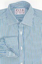 THOMAS PINK Men's French Cuff Dress Shirt Blue white Striped Size 15 1/2 - 35