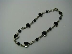 STERLING SILVER BRACELET ONYX HEARTS & BEADS 925 Silver USA c1980s 6 3/4in 170mm