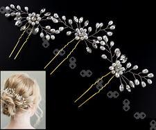 3pcs Retro Wedding Bridal Pearl Crystal Hair Pins Bridesmaid Side Comb Accesso