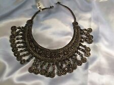 Antique Necklace silver blend choker with hinged neckline and coin like ornament