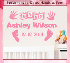 Personalized Name Hand Date Feet Nursery Infant Vinyl Wall Art Sticker Decal 049