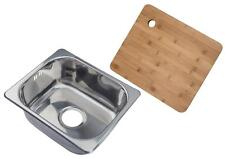 Small Stainless Steel Single Bowl Inset Kitchen Sink & Chopping Board (A11)