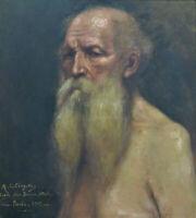 Beau tableau ancien portrait de vieillard Job école des beaux arts Paris1907 hst