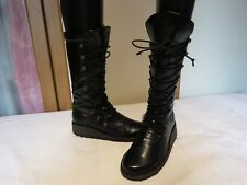 FLY LONDON MAOS BLACK PATENT LEATHER LACE UP WEDGE BOOTS UK 4 EUR 37 RRP £145