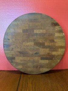 """13"""" ROUND 1 3/4"""" Thick WOOD Butcher Block Cutting Board"""
