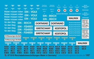 Peddinghaus Decals 1/87 1019 Reichsbahn Beschriftungssatz Loks Wagen und Bahnhöf