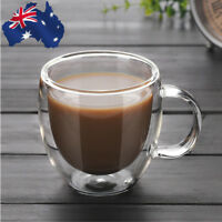 AU! 200ml Double Wall Glass Coffee Tea Cup Heat-resistant Double Layer Glass Mug