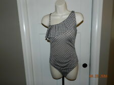 ef0b5a0fc412b Garnet Hill Swimsuit 6 Grey White Polka Dot One Piece Flattering Bathing  Suit
