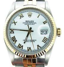 Rolex Datejust Men Two-Tone 18K Gold & Stainless Steel White Roman Jubilee 16013