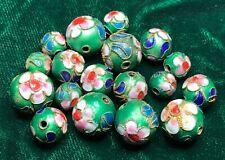 18 pretty vintage emerald green enamel cloisonné Chinese loose metal beads