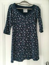 FAT FACE WOMENS BLUE FLOWER PURE COTTON STRETCH DRESS 3/4 SLEEVE - SIZE 10