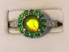 Size 8 Canadian Ammolite & Russian Diopside Sterling Silver Ring TGW 2.23 carats