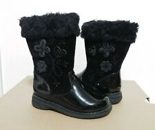 Nine West Toddler Girl's Fashion Floral Fur Trim Black Winter Boots Size 7M
