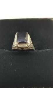 10K Vintage White Gold Onyx Ring
