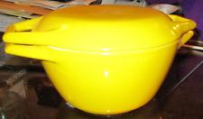 Vtg 1960's COPCO Dutch Oven Cast Iron in Yellow Enamel Made in Denmark $124.99