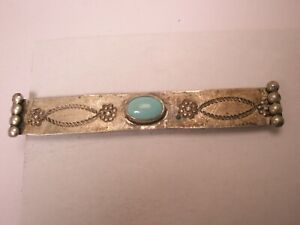 -Silver Tone & Turquoise Blue Stone Vintage Tie Bar Clip southwestern jewelry